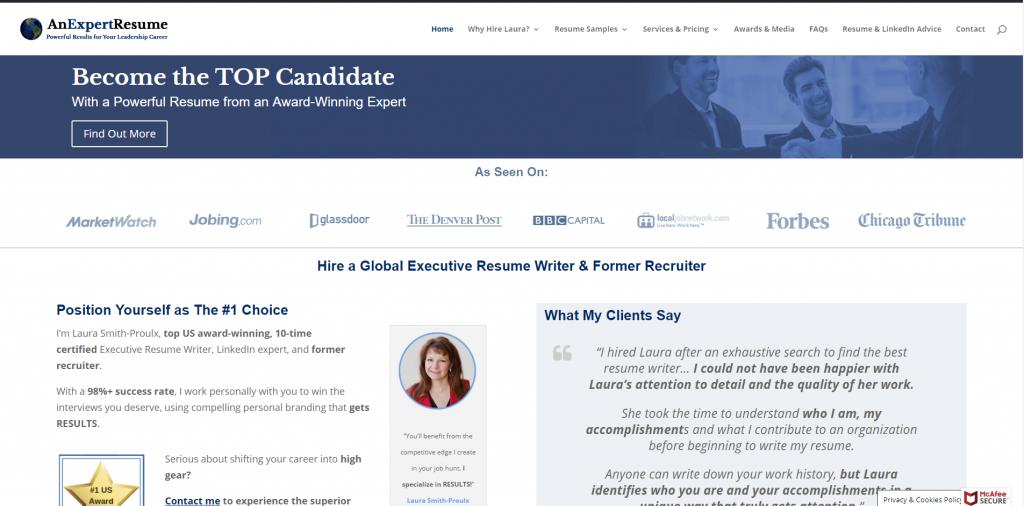 An Expert Resume Screenshot